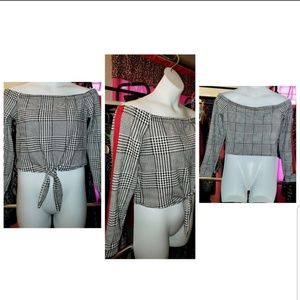 Fashion Nova Tops - Houndstooths chic off the shoulders top! On sale
